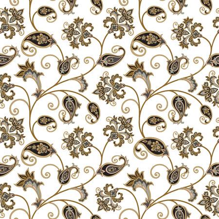 Floral pattern. Flourish oriental ethnic background. Arabic ornament with fantastic flowers and leaves. Wonderland swirl nature motives of stylish vintage fabric patterns. Stock Illustratie