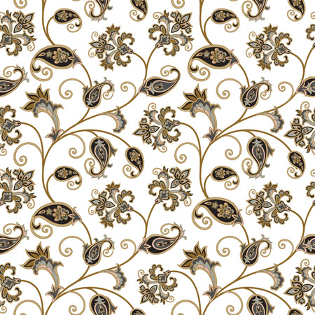 Floral pattern. Flourish oriental ethnic background. Arabic ornament with fantastic flowers and leaves. Wonderland swirl nature motives of stylish vintage fabric patterns. Illustration