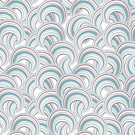 chaotic: Abstract geometric seamless pattern. Bubble ornamental background. Circles. Wave striped loops Chaotic flow motion texture. Doodle wallpaper Illustration