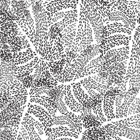 Disegno floreale astratto Foglie turbolento texture geometrica senza soluzione di continuità. Elegante pianta di pianta ornamentale sfondo. Struttura caotica del punto