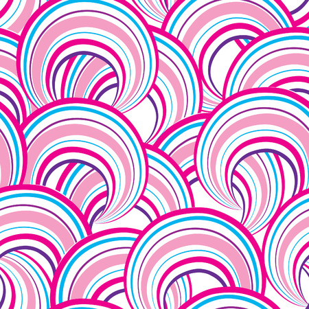 loops: Abstract geometric seamless pattern. Bubble ornamental background. Circles. Wave striped loops Chaotic flow motion texture. Doodle round shape wallpaper
