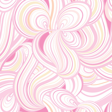 girlish: Abstract wave line and loops seamless pattern. Grid swirl wavy ornamental background. Chaotic flow motion texture. Geometric floral doodle wallpaper