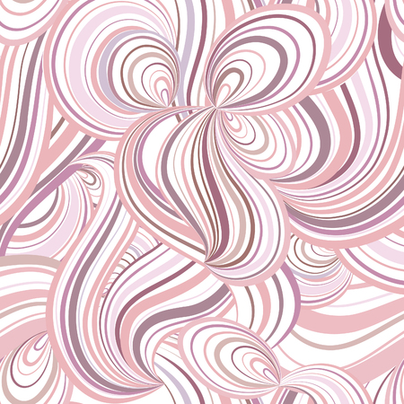 wallpaper doodle: Abstract wave line and loops seamless pattern. Grid swirl wavy ornamental background. Chaotic flow motion texture. Geometric floral doodle wallpaper