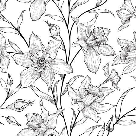 flower sketch: Floral seamless pattern. Flower black and white background. Florals engraving texture with flowers. Flourish sketch tiled wallpaper