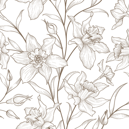 garden flowers: Floral seamless pattern. Flower background. Floral tile ornamental texture with flowers. Spring flourish garden Illustration