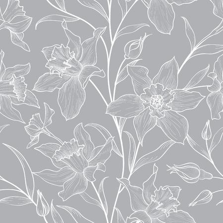 Floral nahtlose Muster. Blumen monochromen Hintergrund. Florals Gravur Textur mit Blumen. Blühen Skizze Fliesen Tapete Vektorgrafik