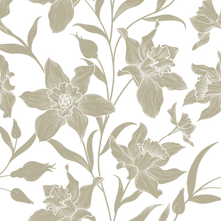 daisy: Floral seamless pattern. Flower doodle background. Floral engraving texture with flowers. Flourish sketch tiled wallpaper