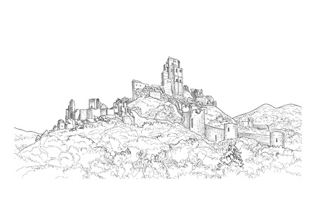 ruins: Famous Castle Landscape. Ancient Architectural Ruins Background. Castle building on the hill skyline etching. Illustration
