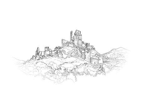 Berühmte Schloss-Landschaft. Antike Ruinen Architectural Hintergrund. Schloss Gebäude auf dem Hügel Skyline Ätzen. Britische Zeichen Gravur. Hand gezeichnete Skizze Abbildung.