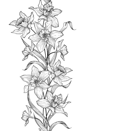シームレスなパターンの花の花輪。花彫刻の背景。花柄タイル水仙の花観賞用の垂直方向の境界線。春の自然。ガーデン スケッチの頭角を現します