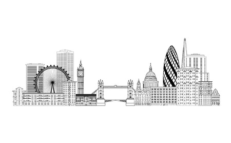 London skyline. London cityscape with famous landmarks and buildings. Travel Untied Kingdom baclkground Vettoriali