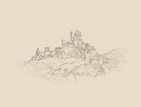 Famoso paisaje Castillo. Antiguas ruinas de arquitectura de fondo. la construcción de castillos en el grabado colina horizonte. Ilustración de vector