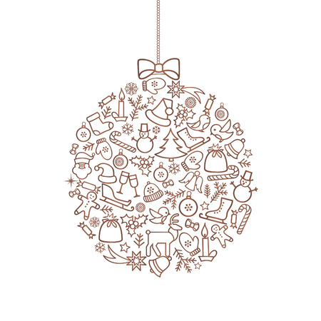 snow white: Christmas background with Ball Doodle Decor Elements. Happy Winter Holiday Greeting card design with holiday decoration icons.