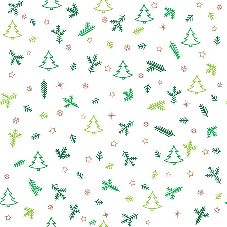 abeto: Christmas Icons Seamless Pattern with New Year Tree, Snow and Stars. Happy Winter Holiday Wallpaper with Nature Decor elements. Fir Tree branch and snowflakes tiled background design. Vectores