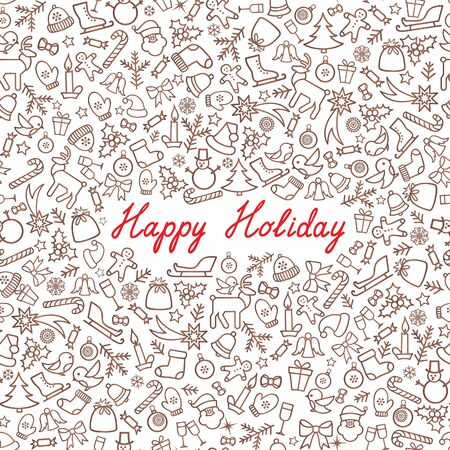 winter wallpaper: Christmas Icons Seamless Pattern. Happy Winter Holiday Wallpaper. Doodle Greeting Card with handwritten Lettering HAPPY HOLIDAYS