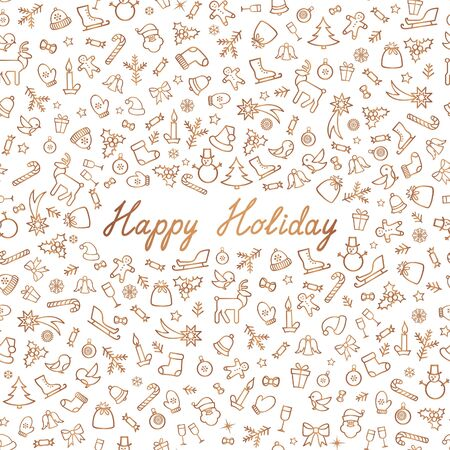 Christmas Icons Seamless Pattern. Happy Winter Holiday Wallpaper. Doodle Greeting Card with handwritten Lettering HAPPY HOLIDAYS