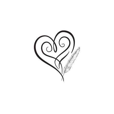 black feather: Love heart  drawn by feather pen. St Valentines day greeting card . Heart shape design for love symbols.