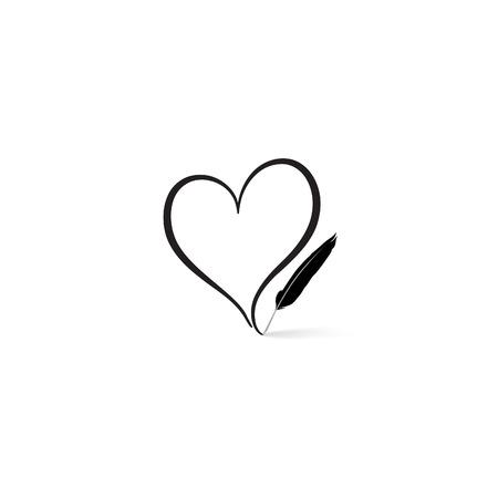 Liefde hart geschreven door veerpen. St Valentijnsdag wenskaart. Hartvorm ontwerp voor de liefde symbolen.