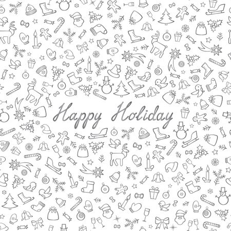 Christmas Icons Seamless Pattern. Happy Winter Holiday Wallpaper. Doodle Winer Holiday Greeting Card with handwritten Lettering HAPPY HOLIDAYS