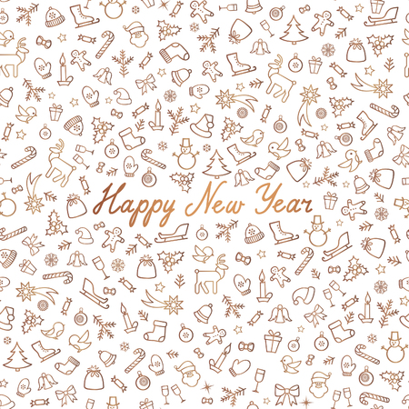 Christmas Icons Seamless Pattern. Happy Winter Holiday Wallpaper. Winer Holiday Greeting Card with handwritten Lettering HAPPY NEW YEAR Illustration