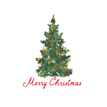 Christmas tree design. Winter Holiday greeting card design. Handwritten lettering MERRY CHRISTMAS and decorated fir tree isolated over white background