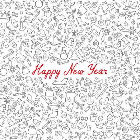 Christmas Icons Seamless Pattern. Happy Winter Holiday Wallpaper. Doodle Greeting Card with handwritten Lettering HAPPY NEW YEAR