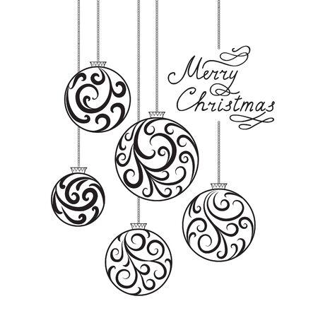 Weihnachten Hintergrund mit Doodle Ball, Handwritten Beschriftung FROHE WEIHNACHTEN. Happy Winter Holiday Wallpaper. Grußkartenentwurf mit Swirl Blumendekoration