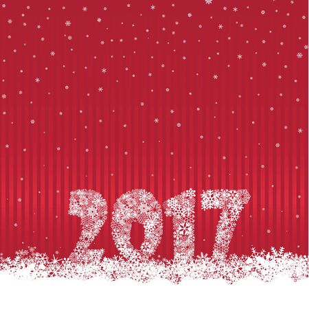 Christmas background with 2017 and snow. Greeting card design element. Happy New Year numbers decor