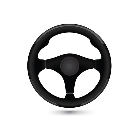 steering: Car steering wheel isolated over white background