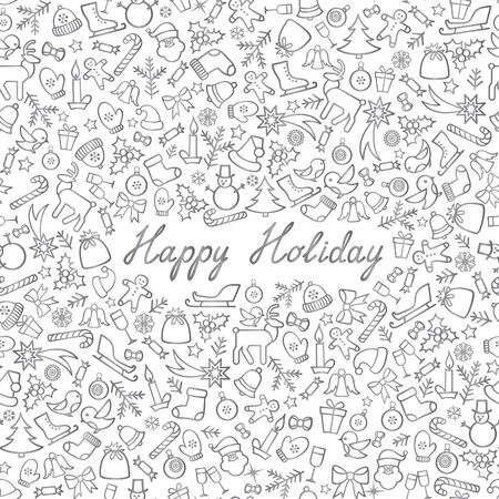 Christmas Icons Seamless Pattern. Happy Winter Holiday Wallpaper. Doodle Greeting Card with handwritten Lettering HAPPY HOLIDAY Illustration