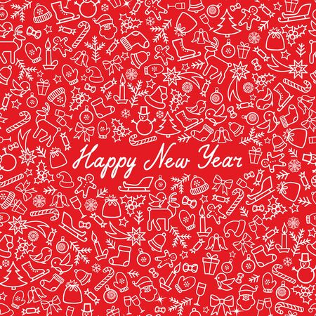 a holiday greeting: Christmas Icons Seamless Pattern. Happy Winter Holiday Wallpaper. Doodle Winer Holiday Greeting Card with handwritten Lettering HAPPY NEW YEAR