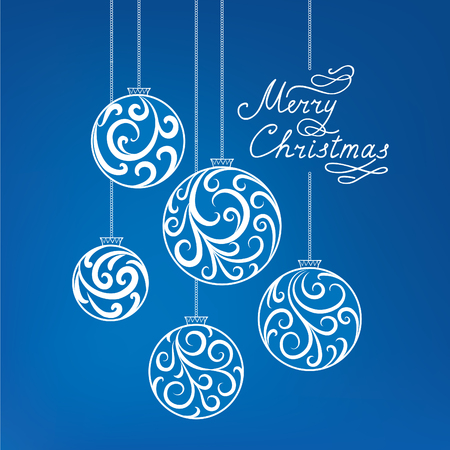 winter wallpaper: Christmas background with doodle ball, Handwritten Lettering MERRY CHRISTMAS. Happy Winter Holiday Wallpaper. Greeting card design with Swirl Floral Decoration Illustration