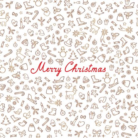Christmas Icons Seamless Pattern. Happy Winter Holiday Wallpaper. Doodle Greeting Card with handwritten Lettering MERRY CHRISTMAS Illustration