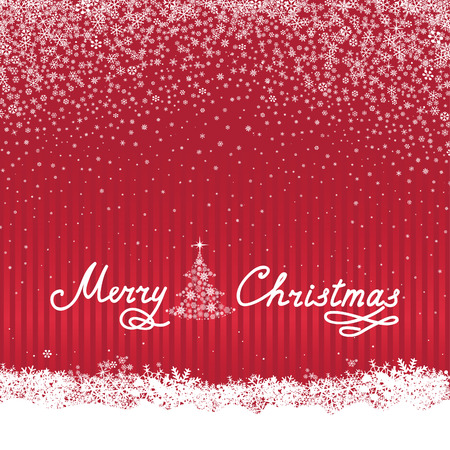 winter wallpaper: Christmas background with Handwritten Lettering MERRY CHRISTMAS. Happy Winter Holiday Wallpaper. Greeting card design with Snowflake Ball Decoration.