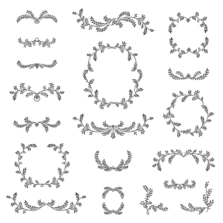 devider: Different frames set with vignette and branches with leaves, berries. Floral sketch nature ornamental collection. Decorative border for flourish scarbook design. Vintage calligraphic floral decor elements