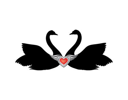 animalistic: Birds in love with winged red heart decoration. Couple of swans silhouette. Two love hearts concept illustration.