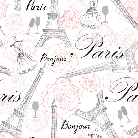 paris: Paris city landmark Eiffel Tower and handwritten lettering PARIS seamless pattern. Travel France tile background