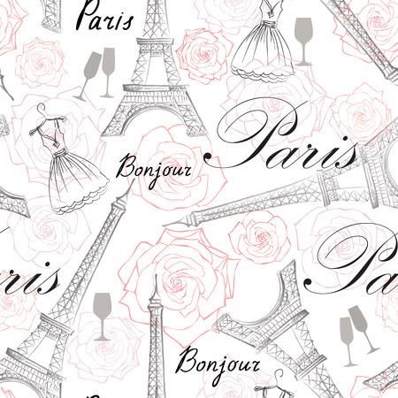 Paris city landmark Eiffel Tower and handwritten lettering PARIS seamless pattern. Travel France tile background