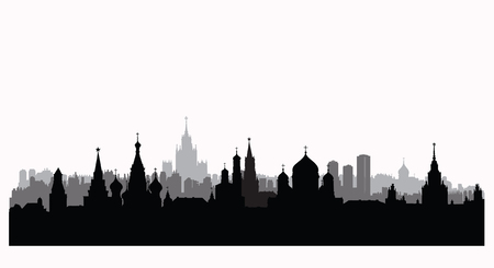 Moscow city buildings silhouette. Russian urban landscape. Moscow cityscape with landmarks. Travel Russia background
