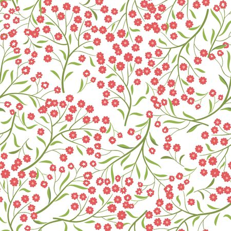 abstract seamless: Floral pattern with flower branch. Ornamental herb branch with leaves seamless background. Nature plant spring ornament Illustration
