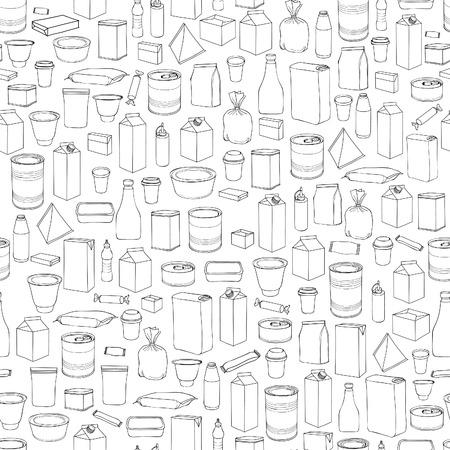 Pak naadloos patroon. Verschillende pakket overzicht doodle drawn icoon tegel achtergrond.