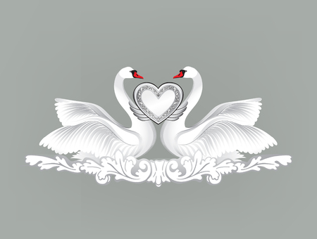 white wedding: Birds in love with floral decoration. Couple of swans. Two love hearts concept illustration. Good for wedding, St Valentine greeting card decor, marriage annivesary design background. Illustration