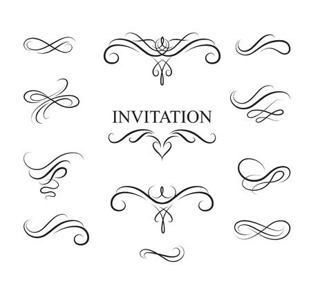 dibujos lineales: elementos de diseño caligráfico prospere. Decoración de la página viñeta establece en estilo retro. fronteras de la vendimia elegantes y separadores para la tarjeta de felicitación, fiesta retro, invitación de la boda. Vectores