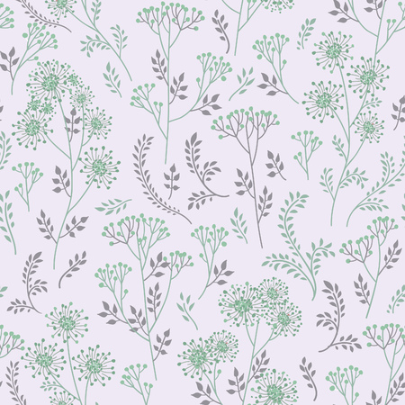 winter flower: Floral pattern with leaves and flowers. Ornamental herb branch seamless background. Nature plant ornament Illustration