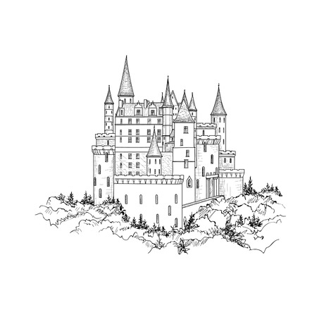 Famous Castle Landscape. Travel Background. Castle building on the hill skyline etching. Hand drawn sketch
