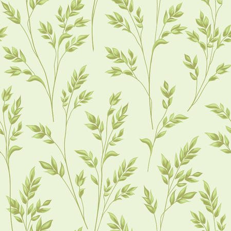 Floral pattern with branch and leaves. Fall straw ornamental seamless background. Nature ornamental pattern with ear wheat
