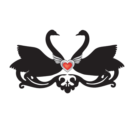 animalistic: Birds in love with floral decoration. Couple of swans silhouette. Two love hearts concept illustration. Good for wedding, St Valentine greeting card decor, marriage annivesary design background.