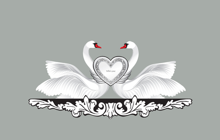 wedding decor: Birds in love with floral decoration. Couple of swans. Two love hearts concept illustration. Good for wedding, St Valentine greeting card decor, marriage annivesary design background. Illustration