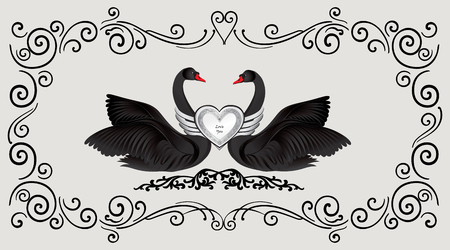 wedding decor: Black birds in love with floral decoration. Couple of swans silhouette. Two love hearts concept illustration. Good for wedding, St Valentine greeting card decor, marriage annivesary design background.