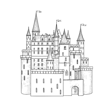 building sketch: Castle building isolated. Fairy tale building sketch Illustration